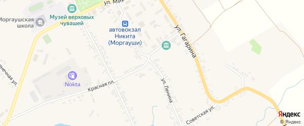 Улица Ленина на карте села Моргаушей Чувашии с номерами домов