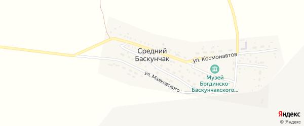 Улица Мира на карте поселка Среднего Баскунчака Астраханской области с номерами домов