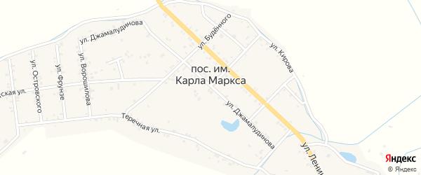 Улица Ворошилого на карте села им Карла Маркса Дагестана с номерами домов