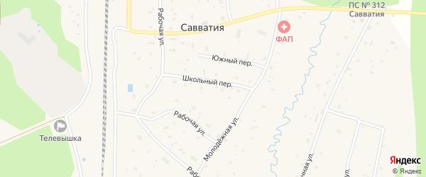 Центральная улица на карте поселка Савватии Архангельской области с номерами домов