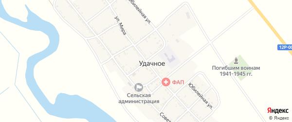 Колхозный переулок на карте Удачного села Астраханской области с номерами домов
