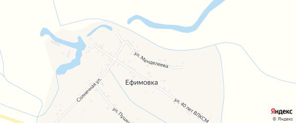 Улица Менделеева на карте села Ефимовки Дагестана с номерами домов