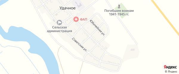 Веселый переулок на карте Удачного села Астраханской области с номерами домов