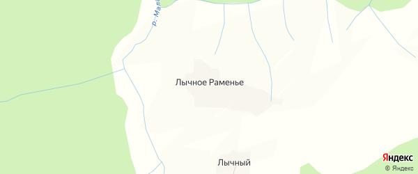 Карта деревни Лычного Раменья в Вологодской области с улицами и номерами домов