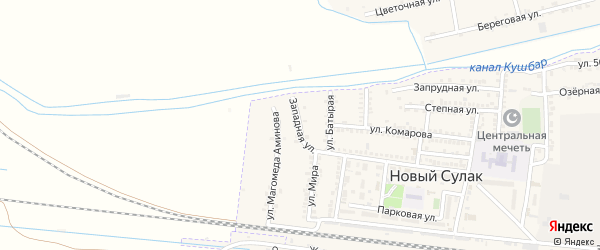 Западная улица на карте поселка Нового Сулака с номерами домов