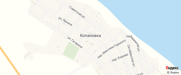 Переулок Чапаева на карте села Копановки Астраханской области с номерами домов
