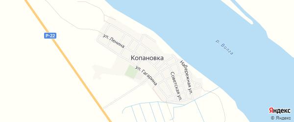 Карта села Копановки в Астраханской области с улицами и номерами домов
