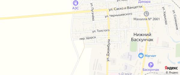 Переулок Щорса на карте поселка Нижнего Баскунчака с номерами домов