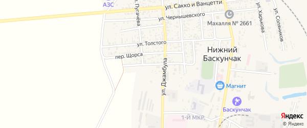 Переулок Пугачева на карте поселка Нижнего Баскунчака Астраханской области с номерами домов