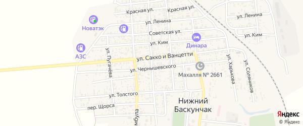 Красноармейская улица на карте поселка Нижнего Баскунчака Астраханской области с номерами домов