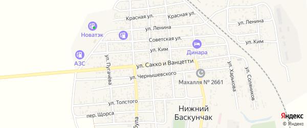 Улица Сакко и Ванцетти на карте поселка Нижнего Баскунчака Астраханской области с номерами домов