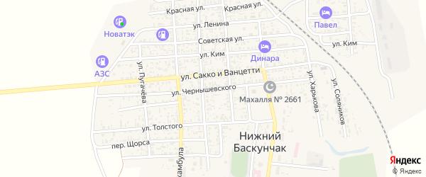 Улица Чернышевского на карте поселка Нижнего Баскунчака Астраханской области с номерами домов