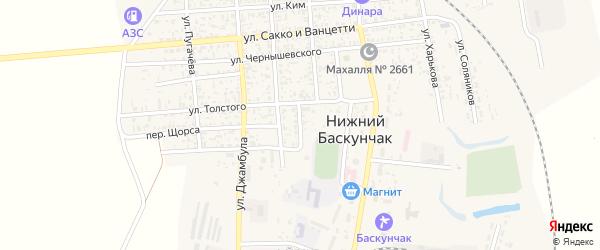Переулок Толстого на карте поселка Нижнего Баскунчака Астраханской области с номерами домов