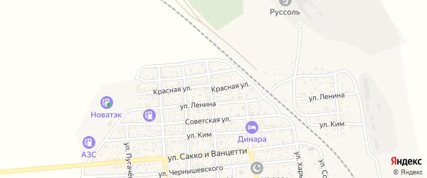 Красная улица на карте поселка Нижнего Баскунчака Астраханской области с номерами домов