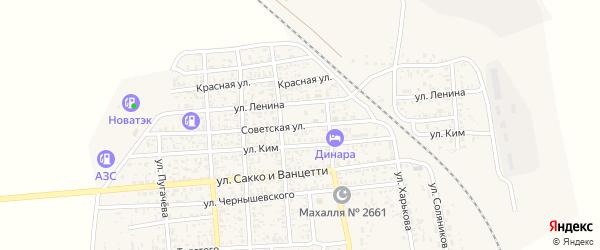 Советская улица на карте поселка Нижнего Баскунчака Астраханской области с номерами домов