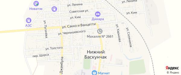 Переулок Чернышевского на карте поселка Нижнего Баскунчака с номерами домов