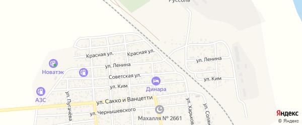 Улица Ленина на карте поселка Нижнего Баскунчака Астраханской области с номерами домов