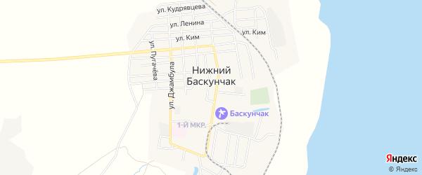 Карта поселка Нижнего Баскунчака в Астраханской области с улицами и номерами домов
