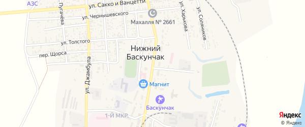 Улица Максима Горького на карте поселка Нижнего Баскунчака Астраханской области с номерами домов