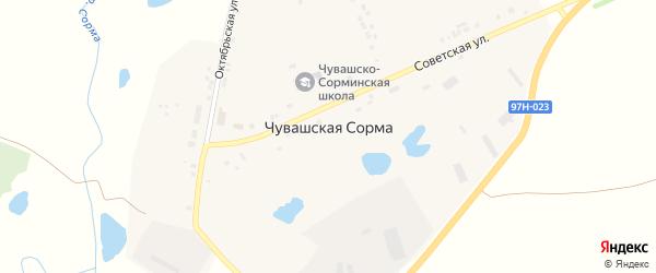 Советская улица на карте села Чувашской Сормы с номерами домов