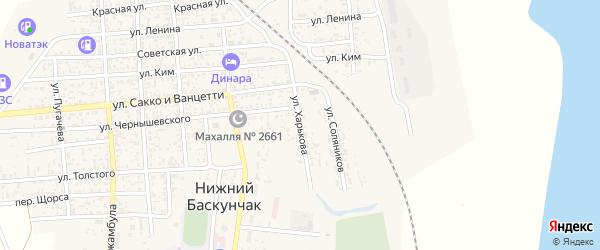 Улица Харькова на карте поселка Нижнего Баскунчака Астраханской области с номерами домов