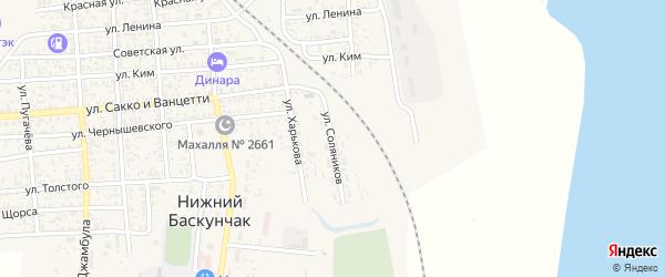 Улица Соляников на карте поселка Нижнего Баскунчака Астраханской области с номерами домов