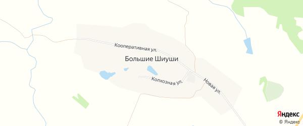 Карта деревни Большие Шиуши в Чувашии с улицами и номерами домов
