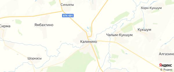 Карта Калининского сельского поселения Республики Чувашии с районами, улицами и номерами домов