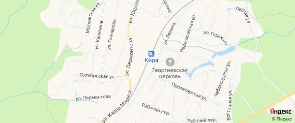 Карта поселка Киря в Чувашии с улицами и номерами домов
