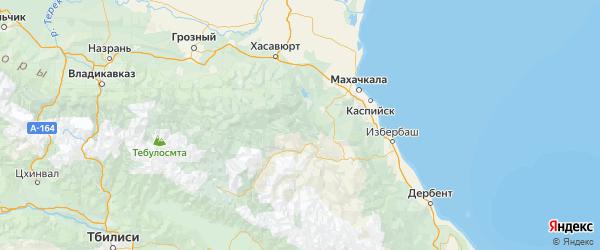 Карта Унцукульского района Республики Дагестана с городами и населенными пунктами
