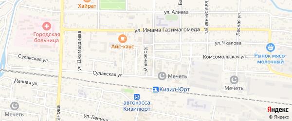 Красная улица на карте Кизилюрта с номерами домов