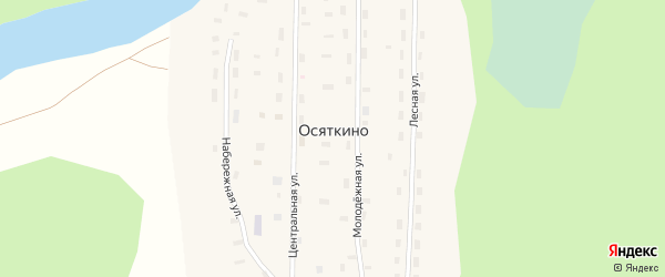 Молодежная улица на карте поселка Осяткино с номерами домов