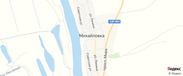 Карта села Михайловки в Астраханской области с улицами и номерами домов