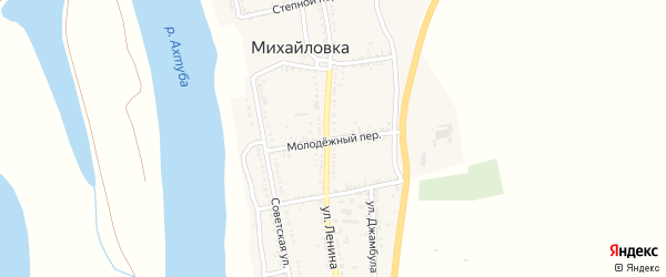 Молодежный переулок на карте села Михайловки Астраханской области с номерами домов