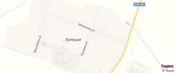 Луговая улица на карте деревни Хумуши с номерами домов