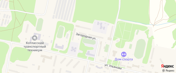 Загородная улица на карте Сольвычегодска с номерами домов