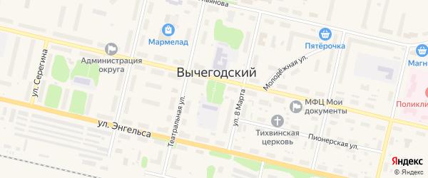 Улица К.Цеткин на карте Вычегодского поселка с номерами домов