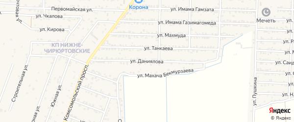 Улица Даниялова на карте Комсомольского села Дагестана с номерами домов