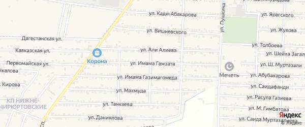 Улица Гамзата Цадасы на карте Комсомольского села Дагестана с номерами домов