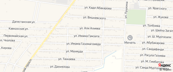 Улица Имама Гамзата на карте Комсомольского села Дагестана с номерами домов