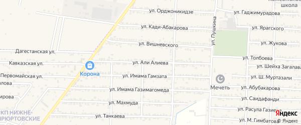 Улица Али Алиева на карте Комсомольского села Дагестана с номерами домов