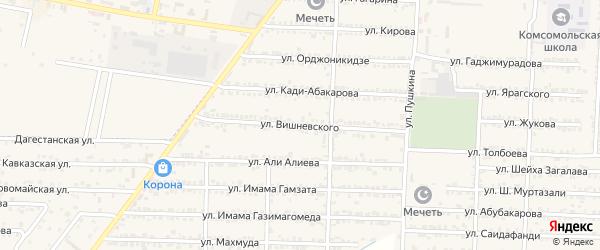 Улица Вишневского на карте Комсомольского села Дагестана с номерами домов