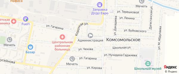 Улица Магомеда Гаджиева на карте Комсомольского села Дагестана с номерами домов