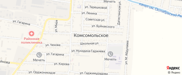Улица Гаджимурада на карте Комсомольского села Дагестана с номерами домов