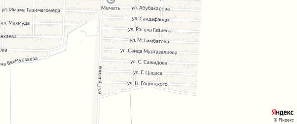 Улица Сажида Сажидова на карте Комсомольского села Дагестана с номерами домов