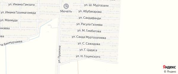 Улица Сагида Муртазалиева на карте Комсомольского села Дагестана с номерами домов