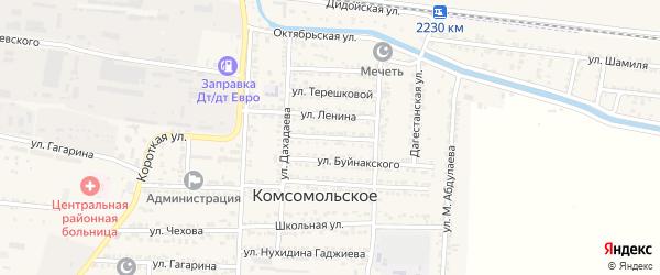 Советская улица на карте Комсомольского села Дагестана с номерами домов