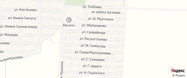 Улица Расула Газиева на карте Комсомольского села Дагестана с номерами домов