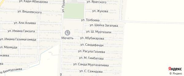 Улица Абубакарова на карте Комсомольского села Дагестана с номерами домов