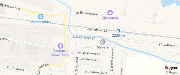 Октябрьская улица на карте Комсомольского села Дагестана с номерами домов